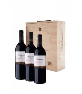 Estuche madera 3 botellas Azpilicueta reserva 2011