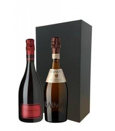 estuche cava 2 botellas raimat chardonnay brut y tantum ergo rose
