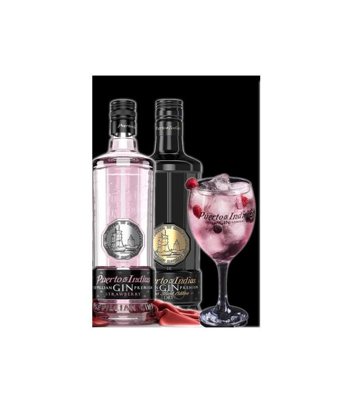 Gin puerto de indias strawberry pure black regalo copa camp - Puerto de indias strawberry gin ...