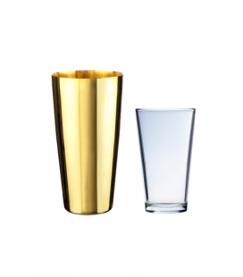 Coctelera Boston Dorada 88 cl. + Vaso 46 cl.