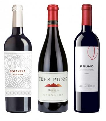 pack top vinos parker - pruno - solanera - borsao tres picos - comprar vino