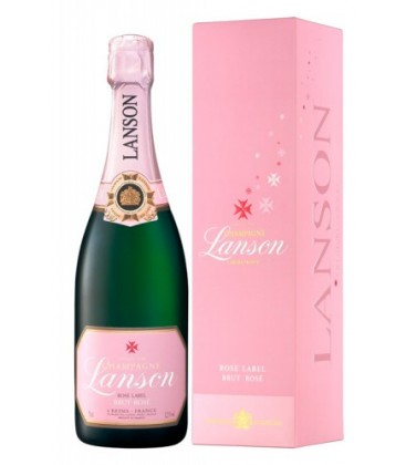 lanson rose label - champagne - estuche - francia
