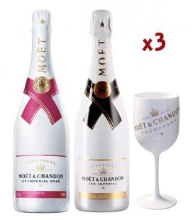 Pack Moet & Chandon Ice Brut & Rosé + 3 Copas Exclusivas