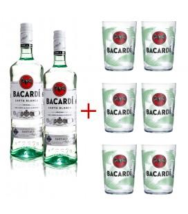 Pack 2 Bacardi 1l + 6 Bacardi Mojito Glasses