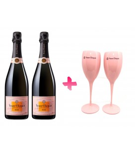Pack 2 Botellas Veuve Clicquot Rose + 2 Copas