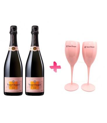 Pack 2 Botellas Veuve Clicquot Rose + 2 Copas