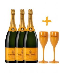 Pack 3 Botellas Veuve Clicquot + 2 Copas Veuve.