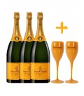 Pack 3 Botellas Veuve Clicquot + 2 Copas Veuve.