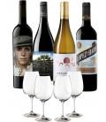 Pack 4 Botellas Vintae (Garnacha Salvaje Del moncayo, Picaro, Lopez de haro cz, Atlantis Treixadura) + 4 Copas.