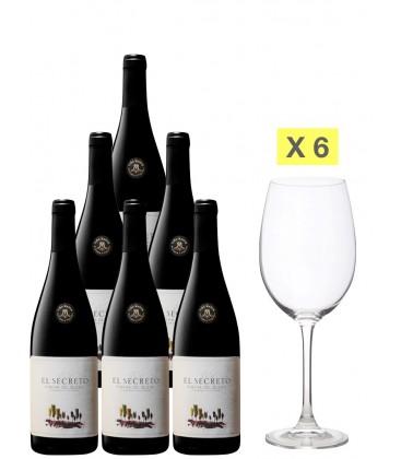 Promocaja 6 Botellas El Secreto Tinto 75cl. + 6 Copas