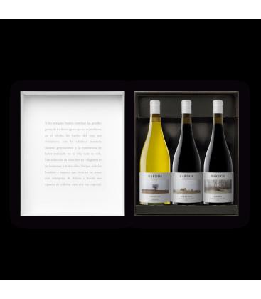 estuche de bardos - vino blanco - vino rom