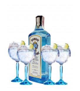 Pack 2 Botellas Bombay Sapphire Mas 4 Copas Gin Tonic Exclusivas