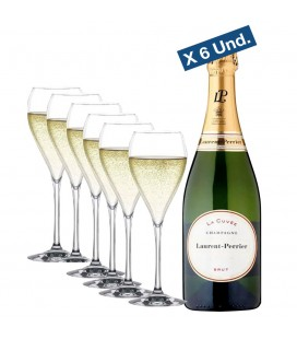 Pack 6 Botellas Laurent perrier La Cuvee + 6 Copas