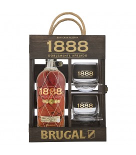 Estuche madera Brugal 1888 + 2 vasos