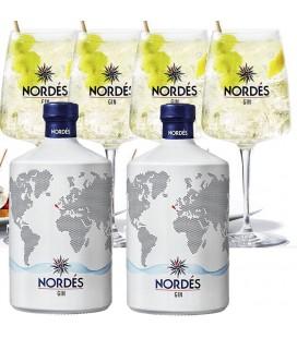2 Botellas Gin Nordes + 4 Copas