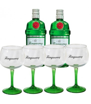 Pack 2 Botellas Tanqueray + 4 Copas
