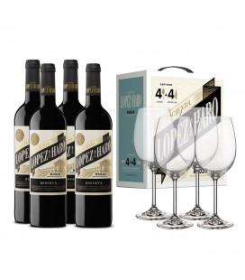 Pack Lopez de Haro Reserva 4 botellas + 4 copas