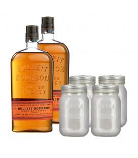 Pack 2 Bulleit Bourbon + 4 gift Jars